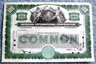 American International Corporation Stock Certificate Undated T3u photo