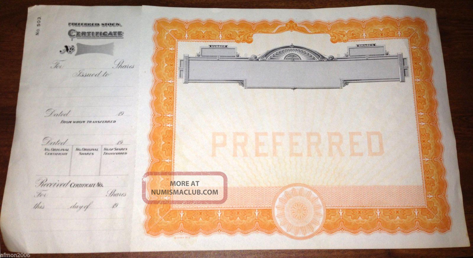Vintage Antique Blank Preferred Stock Certificate Unknown Co. Stocks & Bonds, Scripophily photo