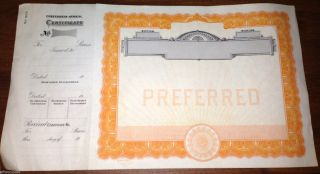 Vintage Antique Blank Preferred Stock Certificate Unknown Co. photo