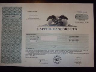 Capitol Bancorp Ltd.  Stock Certificate photo