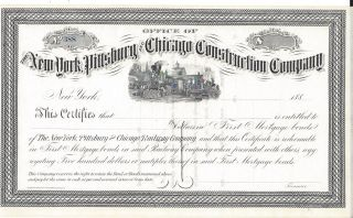 The York,  Pittsburg And Chicago Construction Company. . . .  1880 ' S Certificate photo