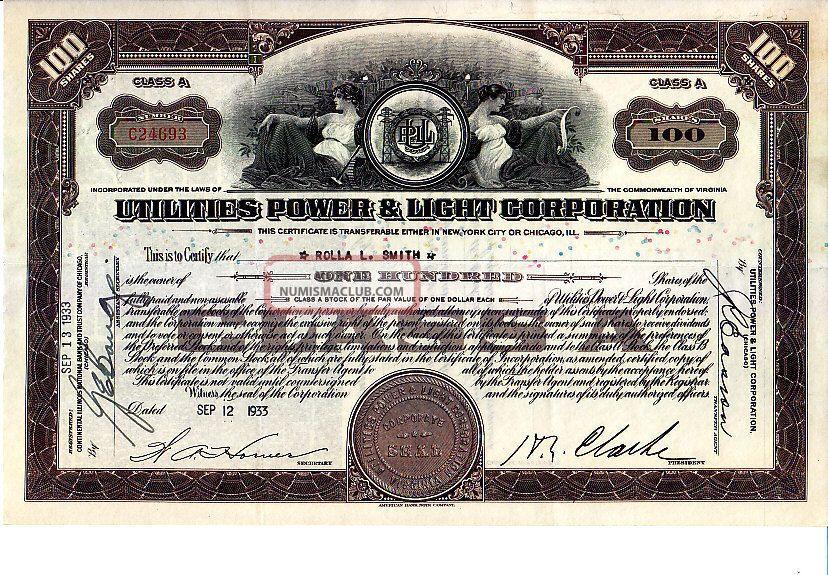 Utilities Power & Light Va 1933 Stock Certificate Stocks & Bonds, Scripophily photo