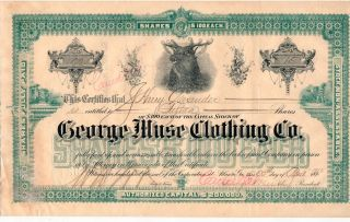 Atlanta,  Ga - George Muse Clothing Co Stock Certificate For 15 Shares From 1912 photo