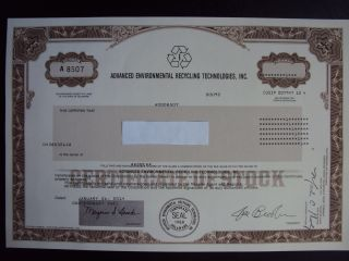 Advanced Environmental Recycling Technologies Stock Certificate photo