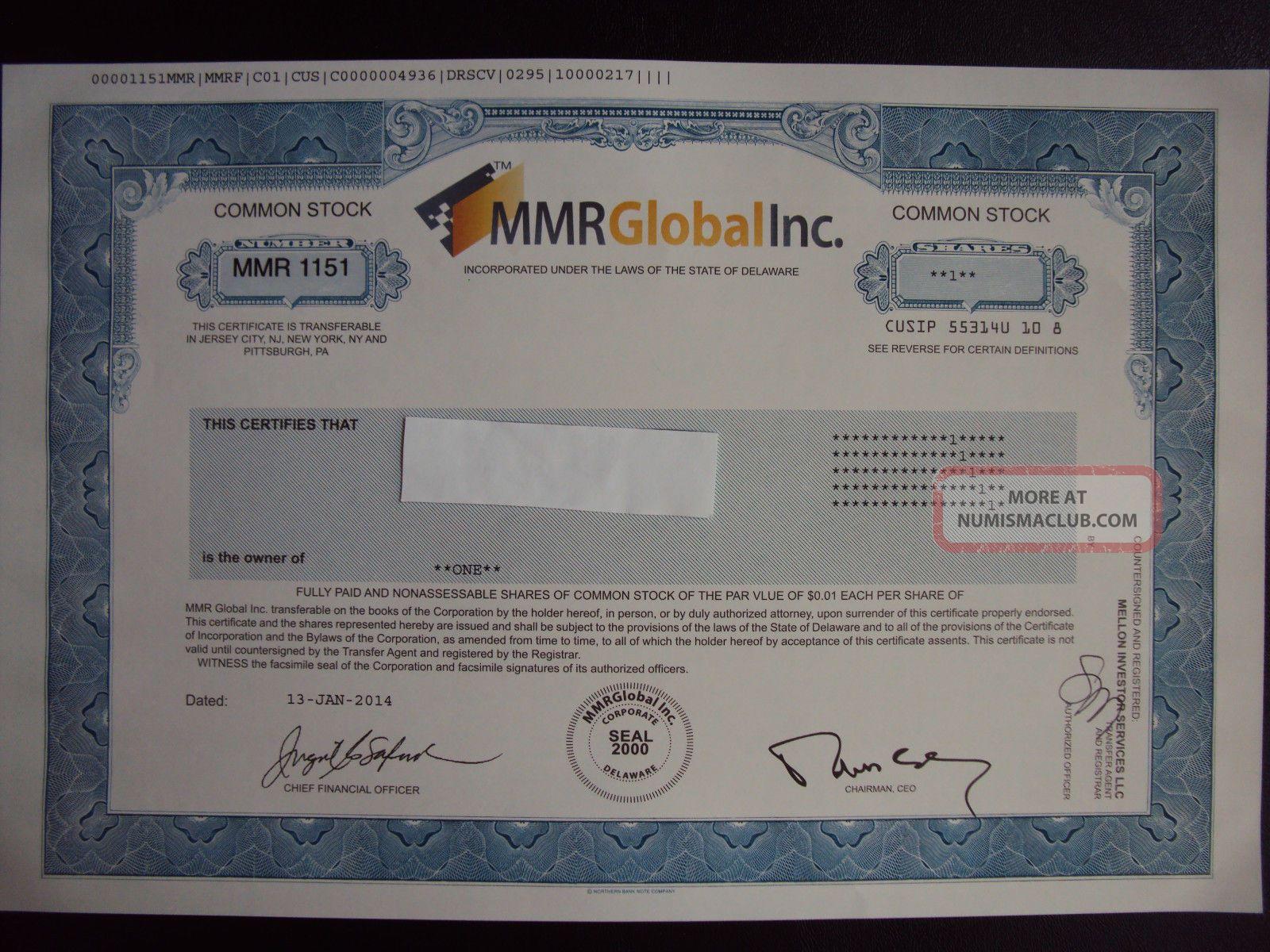 Mmr Global Stock Certificate Stocks & Bonds, Scripophily photo