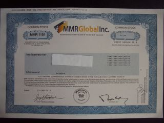 Mmr Global Stock Certificate photo
