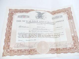 1 Stock Certificate Mutual Loan And Guaranty Company Cleveland Ohio 1937 photo