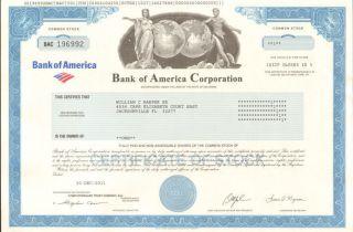 Bank Of America Charlotte North Carolina Collectible Bofa Stock Certificate photo