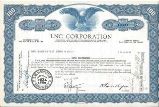 Lnc Corporation Pennsylvania Stock 100 Shares photo