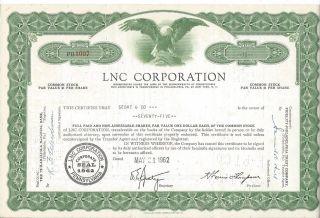 Lnc Corporation Pennsylvania Stock 75 Shares May 1962 photo