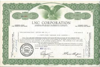 Lnc Corporation Pennsylvania Stock 44,  900 Shares May 1962 photo