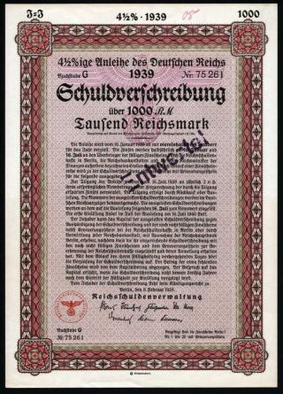 Germany Third Reich 1939 Stock Bond 4 - 1/2 Loan 1000 Mark Share Perfect photo