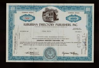 Suburban Directory Publishers Inc Pa Issued To Frank Smith Old Stock Cert 1962 photo