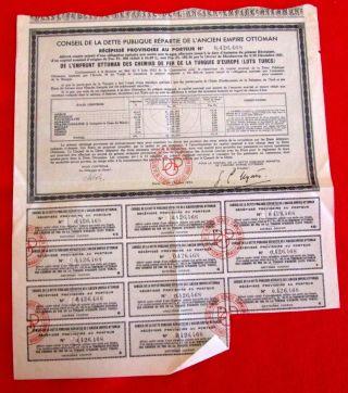 Conseil De La Dette Publique Repartie De L ' Ancien Empire Ottoman 1933 U photo