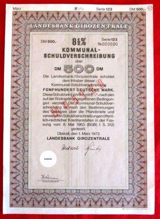 Kommunal Schuldverschreibung German Municipal Bond 1973 T2u photo
