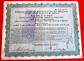National Railways Of Mexico 6% Secured Gold Note Series B Coupons 1914 T2u photo