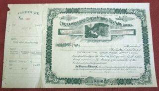 Chickamonstone Copper Mining Company Stock Certificate British Columbia 1897 U photo