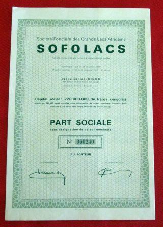 Société Foncière Grands Lacs Africains Sofolacs Dem.  Republic Of Congo 1962 U photo