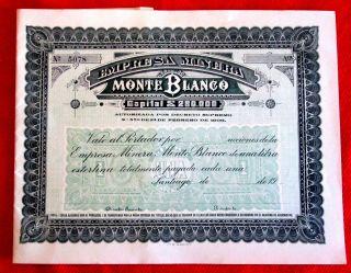 Monte Blanco Empresa Minera Uncirculated Blank Bond 1906 No.  5078 T2u photo