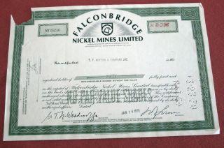 Falconbridge Nickel Mines Stock Certificate E.  F.  Hutton1970 U photo