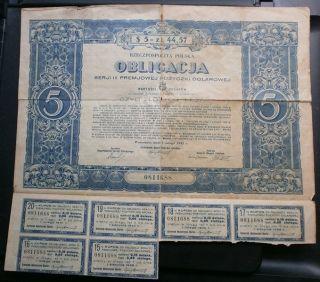 Poland Rare Obligacja Polish Stock Pozyczki 5 Dolar Bond 1931 photo