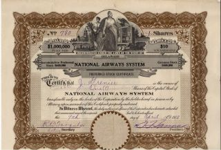 Rare Vintage National Airways System Stock Certificate Air - King Airplanes photo