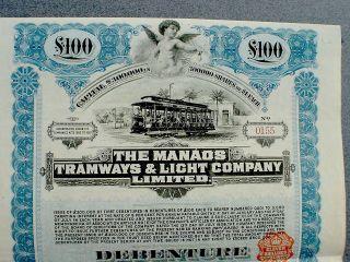 Brazil The Manaos Tramways & Light Comp.  100 Pound St Debenture 1912 Coupons photo