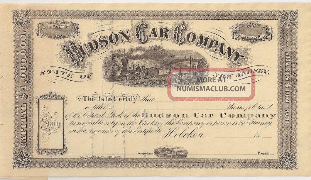 Hudson Car Company. . . . . . .  Unissued 19th Century Stock Certificate Stocks & Bonds, Scripophily photo