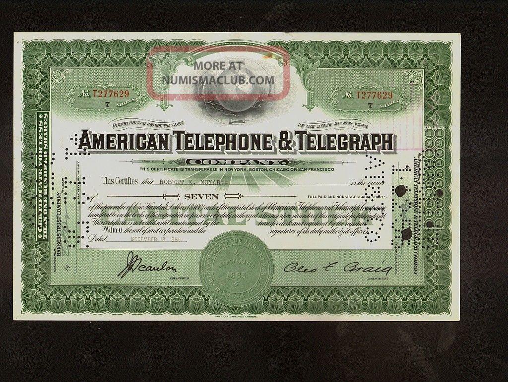 Att American Telephone Telegraph Company 1955 Iss To Robert Moyar Stocks & Bonds, Scripophily photo