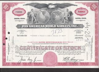 Pan America World Airways,  Inc.  ==capital Stock - 100 Shares==steven Pollis==1969 photo
