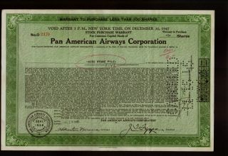 Pan Am: Pan American Airways Warrant 1945 Juan Trippe - Iss To Wynne Pyle photo