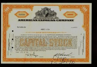 Bank : American Express Company Issued To Agree & Co 1961 photo