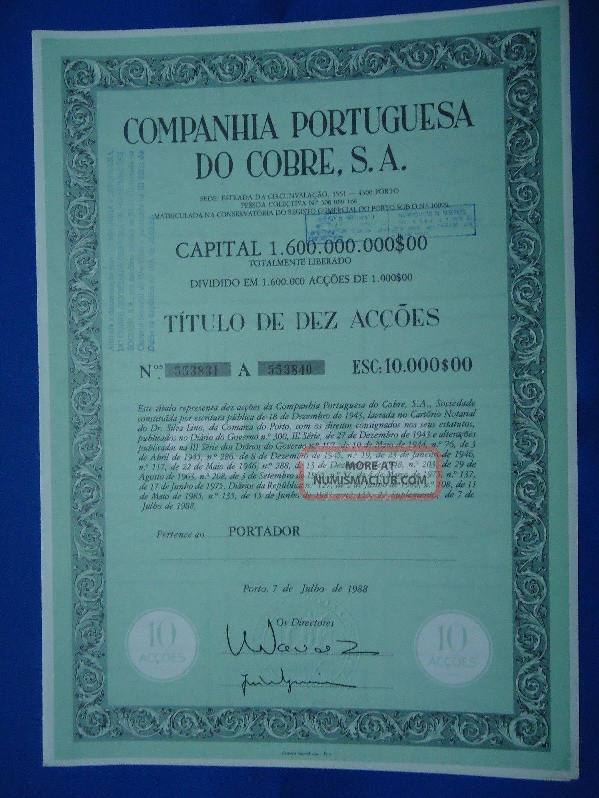 Portugal Share Companhia Portuguesa Do Cobre S.  A.  10000 Escudos 1988 Look Scans World photo