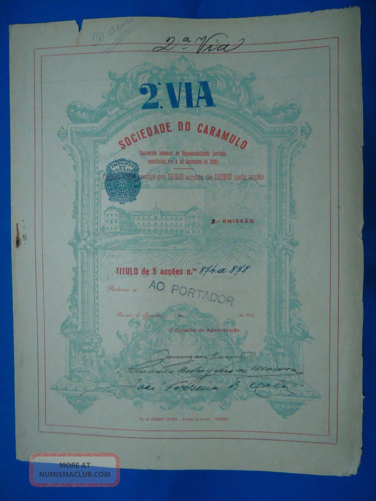 Portugal Share Sociedade Do Caramulo 2 Via 500 Escudos 192? Look Scans World photo