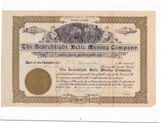 1906 Stock Cert.  Searchlight Belle Mining Company photo