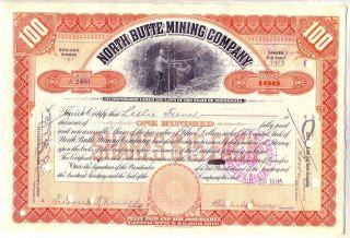 North Butte Mining Company Stock Certificate Orange Minnesota photo