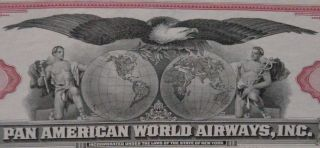 Pan American World Airways 100 Shares 1960 ' S Stock Red photo