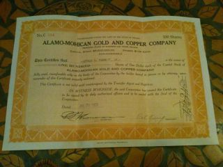 Alamo - Mohician Gold And Copper Company Stock July 23,  1928 100 Shares photo