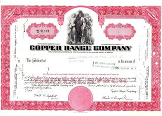 Copper Range Co. ,  1972,  25 Shares,  Red Certificate Abnco. photo
