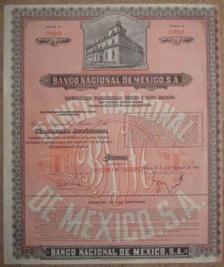 Mexico Banco Nacional De Mexico 50x$50 Bond Share 1965 +coupons Umbrella photo