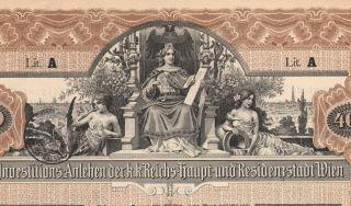 Austria City Of Vienna 4 % Bond Stock Certificate 1902,  400 Crowns photo
