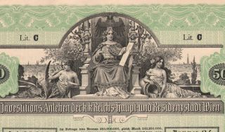 Austria City Of Vienna 4 % Bond Stock Certificate 1902,  500 Crowns photo