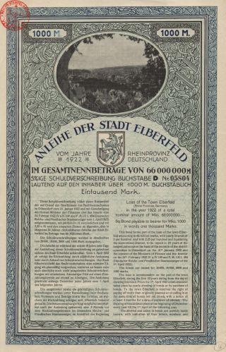Germany City Of Elberfeld Bond Stock Certificate 1922. . .  1000 Marks photo