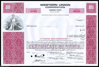 1971 Western Union Corporation 100 Shares Stock Certificate Red - Wysiwyg - Vf+ photo