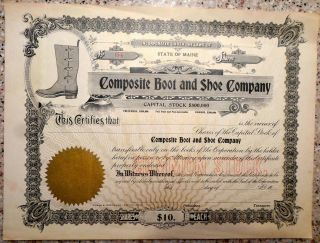 Vintage Maine Common Stock Certificate,  Composite Boot And Shoe Company photo