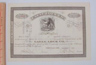 1912 Eagle Lock Co Circulated Stock Certificate Terryville Ct Eagle Flag Arrow photo