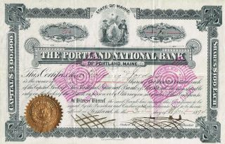 Usa The Portland National Bank Stock Certificate 1894 photo