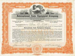 Usa International Auto Equipment Company Stock Certificate 1928 Low 4 photo