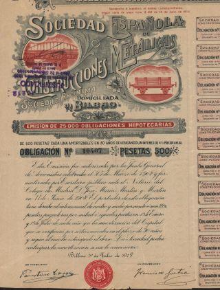 Spain Metal Construction Company Stock Certificate 1908 Rare photo