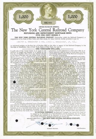 Usa York Central Railroad Company Bond Stock Certificate photo
